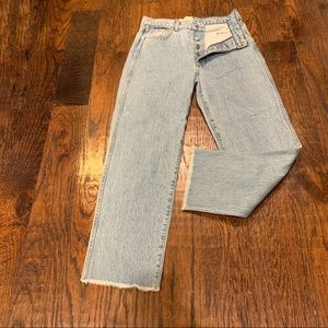 Revice High Waisted Button Fly Light Wash Jeans